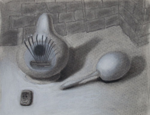 Thumb Drum and Maraca (in charcoal)