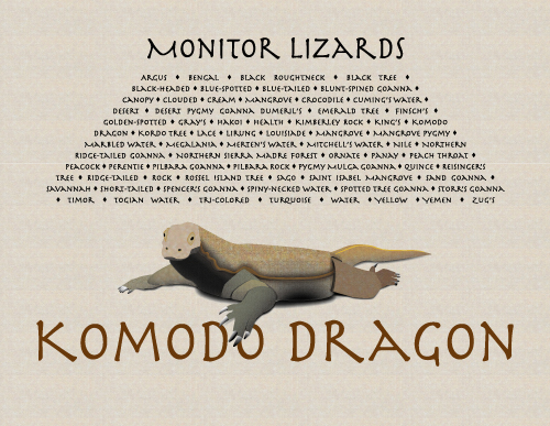 Stylized monitor lizard